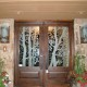 "2-Carved Aspen Trees and Leaves Thermal Unit.  Also Shown Large 12"" x 22"" Sculptured Glass Bronze Fighting Elk Sconces"