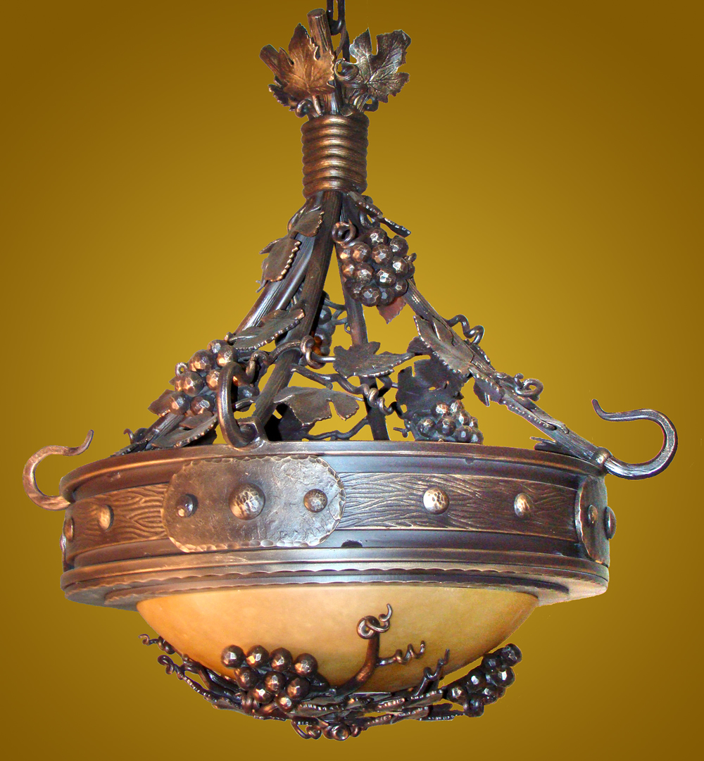 Mountain lighting fixtures 9 custom grape detail chandelier with gold alabaster bowl arubaitofo Choice Image