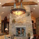 Mountain Light Fixture and Fireplace